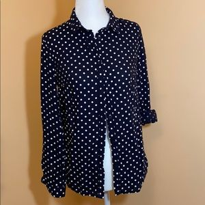 H&M Navy Blue Polka Dot Button Up
